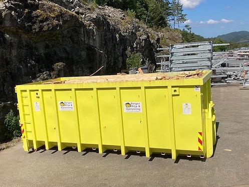 30 kubikk åpen krok-container til trevirke 3000 kg inkl. Fastpris kr 5600,-