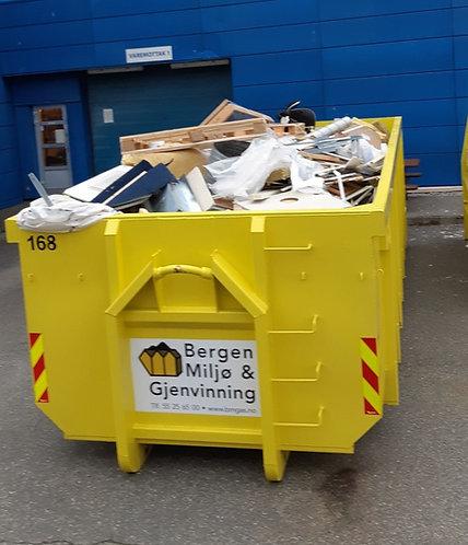 20 kubikk åpen krok-container til restavfall 2000 kg inkl. Fastpris kr 5950,-