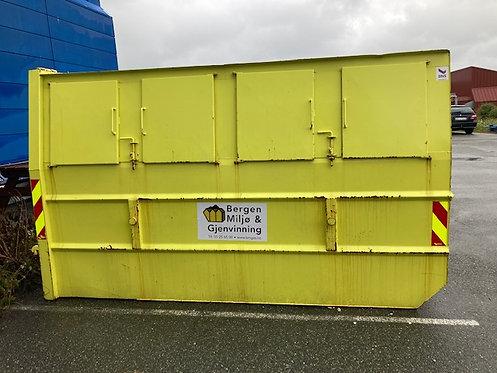 10 kubikk lukket luke-container til trevirke 1000 kg inkl. Fastpris kr 3550,-