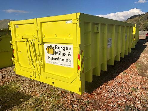 20 kubikk åpen krok-container til godkjente rene gravemasser. Fastpris kr 5450,-