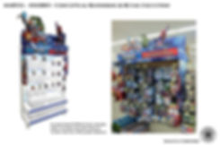 Hasbro conceptual computer rendering and retail display for advenger and spiderman