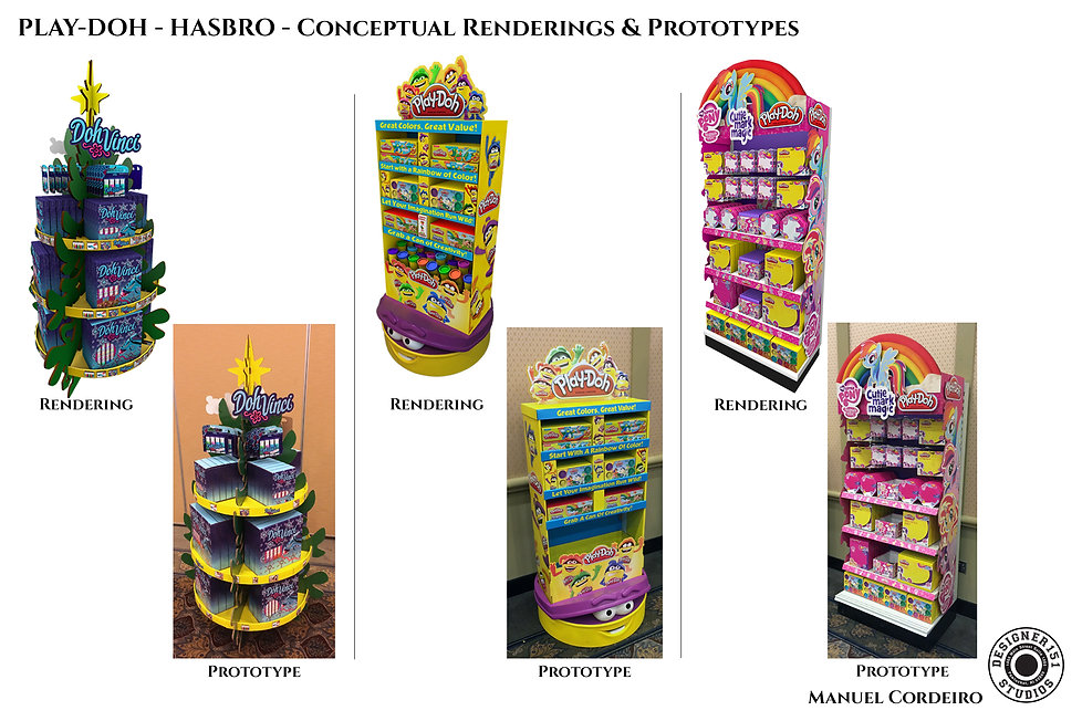 Hasbro computer renderings of retail corregate cardboard retail displays