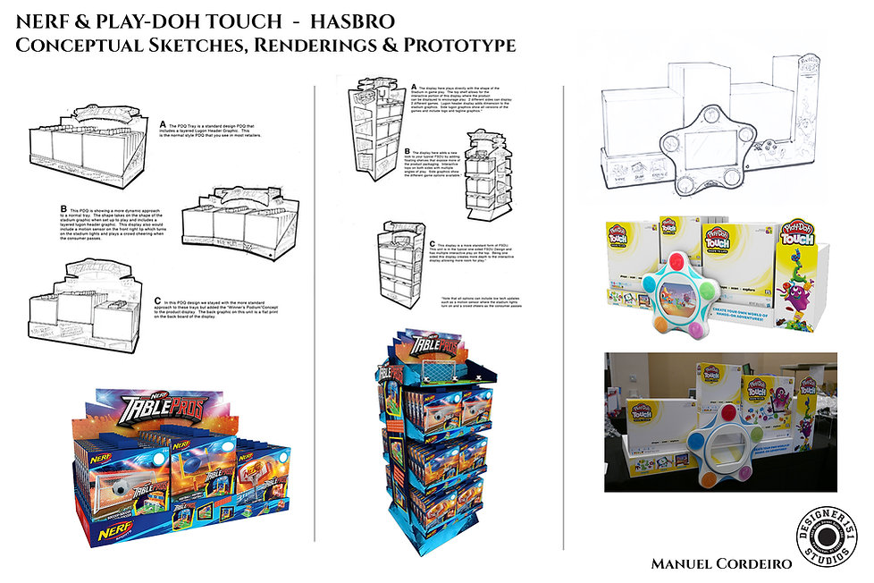 Hasbro conceptual sketches and prototype retail display