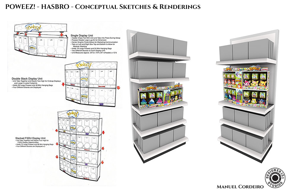 Hasbro conceptual sketches and computer rendering sketches