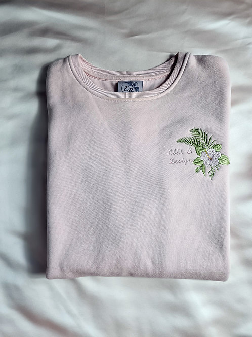 Embroidered Hibiscus Crew/Hoodie