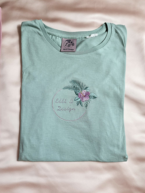 Embroidered Hibiscus Organic Tee