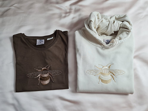 Large Embroidered Bee Crew/Hoodie