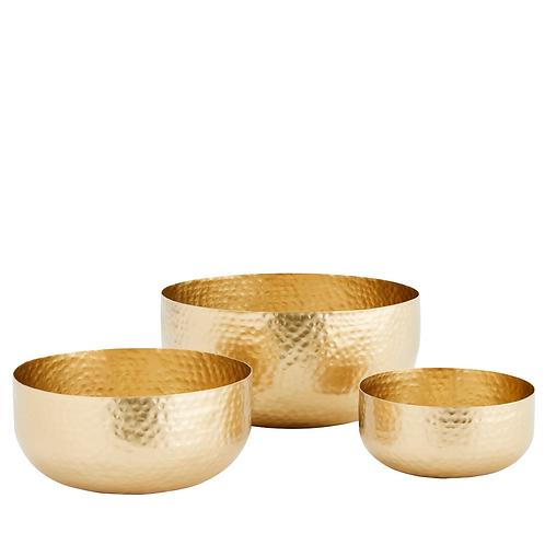 Set de 3 bols en laiton doré martelé