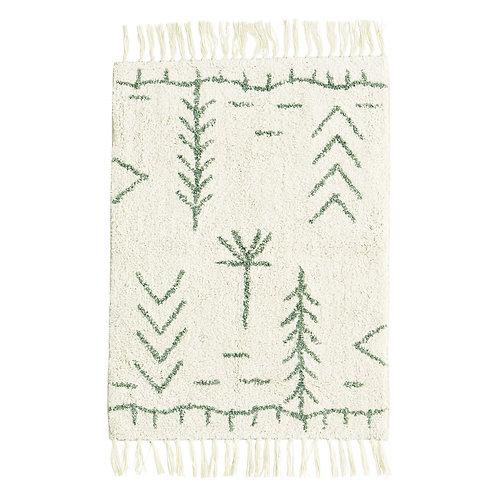 Tapis en coton de style ethnique, ivoire et vert jade