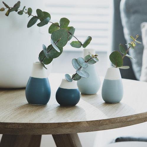 Ensemble de 4 mini-vases en céramique, 2 couleurs au choix
