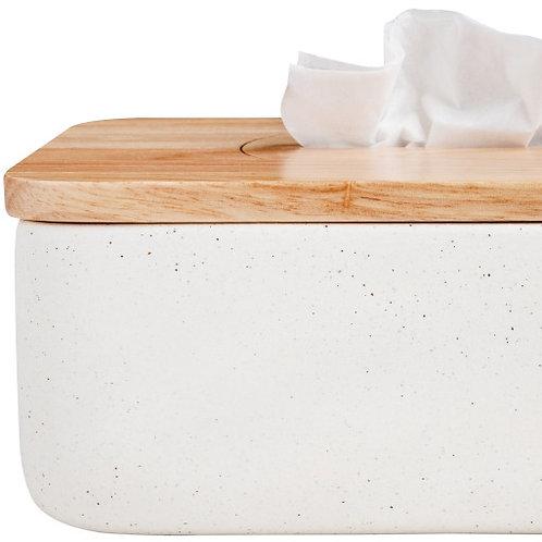 Boîte à mouchoirs, grès et bois