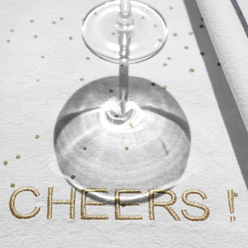 """Torchon brodé """"CHEERS"""" !"""