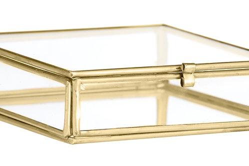 Boîte de rangement carrée en verre et laiton