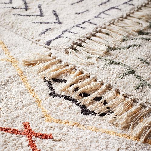 Tapis en coton de style ethnique ivoire, noir et orange