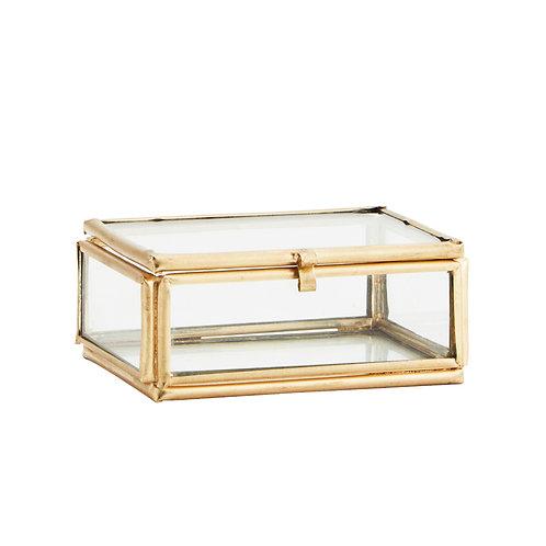 Boîte de rangement en verre et laiton