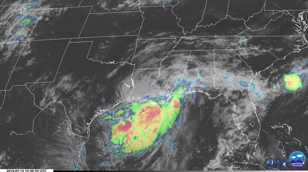 Hurricane Barry nears landfall along the coast of Louisiana.