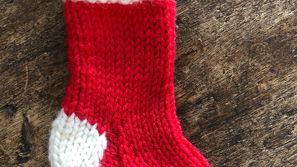 Hand-Knitted Mini Christmas Stockings for the Tree