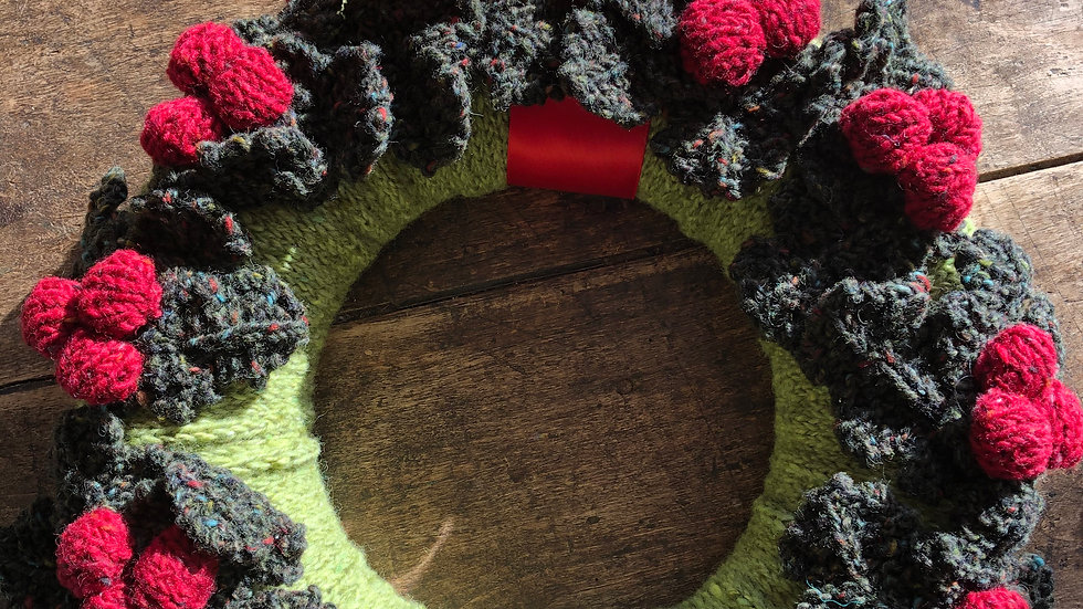 Hand-Knitted Christmas Wreaths