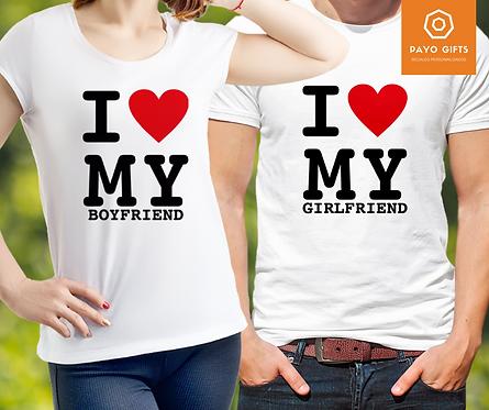 Camiseta I love my GF BF (Par)