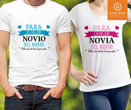 Camiseta Mejor Novio/a del Mundo (Par)