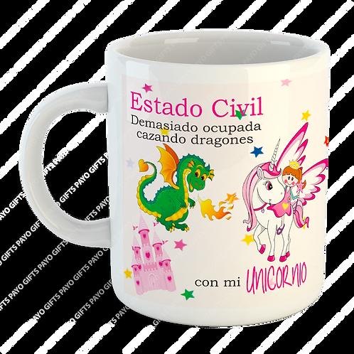 Taza Amigas Locas Unicornio Dragón