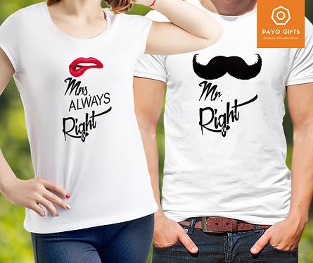 Camiseta Mr. & Mrs. Right (Par)