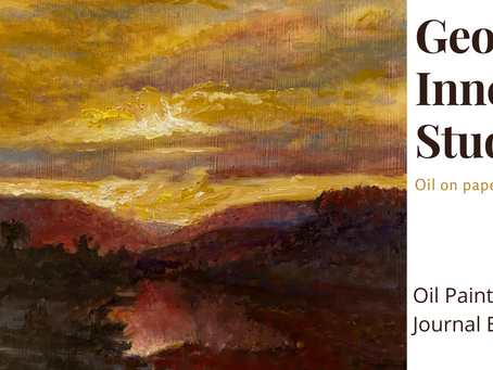George Inness Study on Homemade Painting Journal