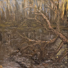 Plein air fallen oak on little pond Raff