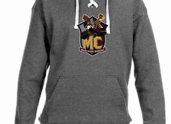 Gray Hooded Sweatshirt w/ large logo (sports lace)