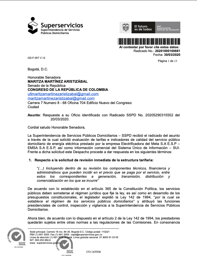 Facsimil de las respuesta de la Superservicios a la senadora Maritza Martínez sobre las tarifas de energía y calidad del servicio de la EMSA