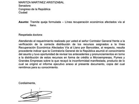 Contraloría ratifica irregularidades denunciadas por la senadora Maritza Martínez en manejo de recur