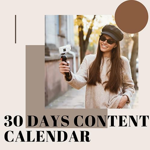 30-Days Instagram content calendar
