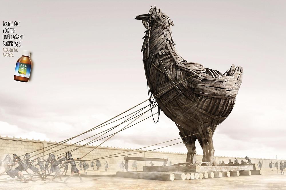 В еде могут сидеть враги, как в троянском коне. Поэтому следует остерегаться неприятных сюрпризов, считает Alca-Luftal Antacid.