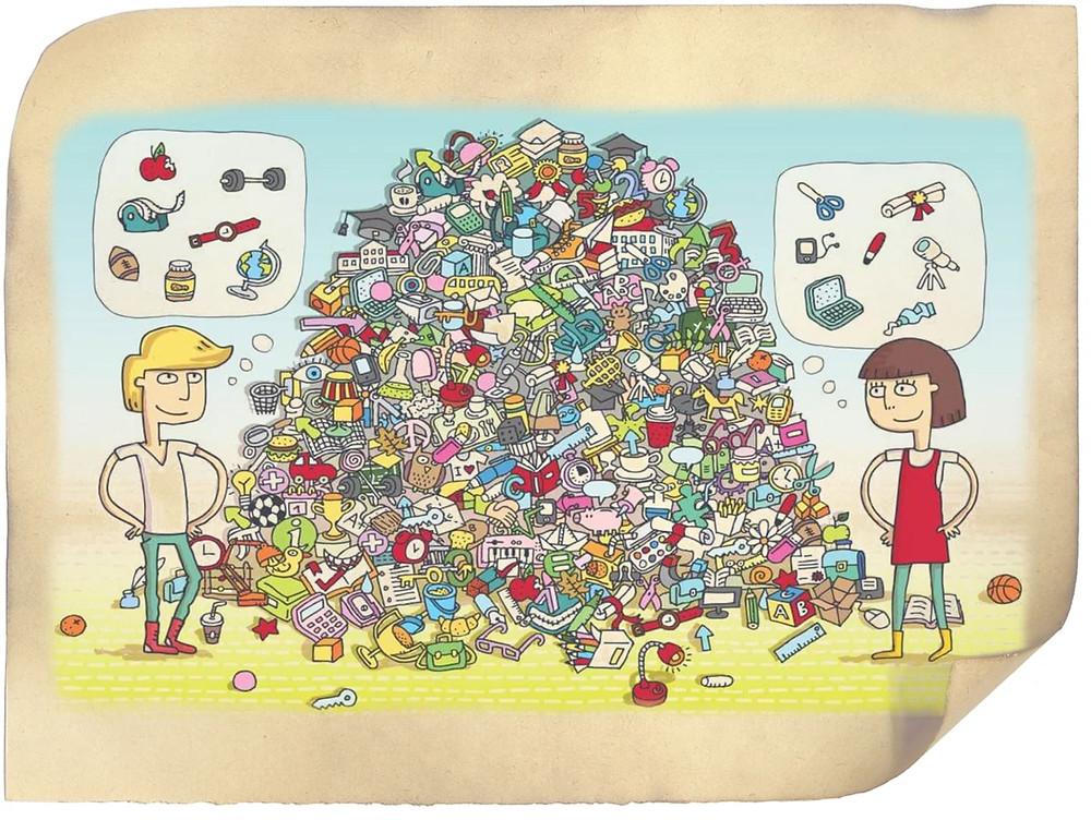 Можете прямо сейчас поупражняться в поисках. Помогите ребятам найти нужные им предметы в этом бардаке.