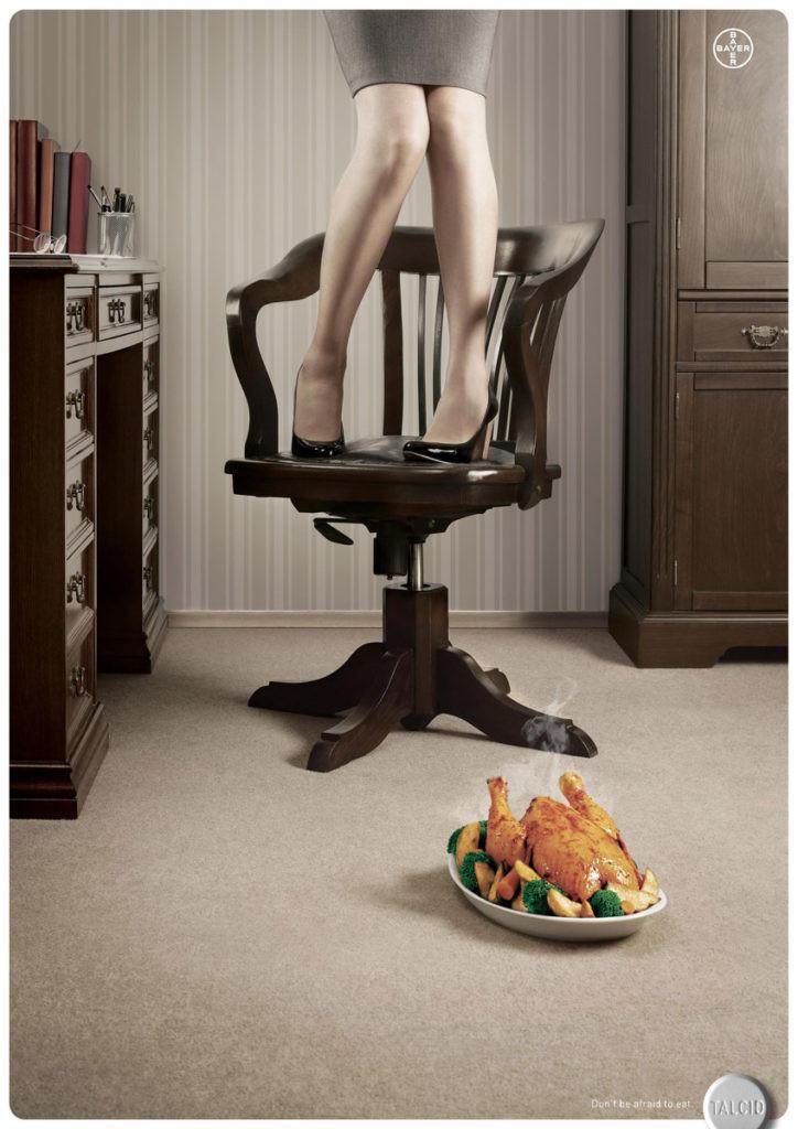 """Еще одна реклама, которая понравится гастроэнтерологам. Рекламируются таблетки """"Тальцид"""" от Bayer, помогающие от изжоги или повышенной кислотности."""