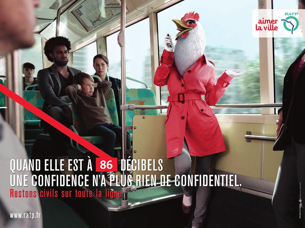 """Французская социальная реклама о поведении в общественном транспорте. """"Когда ее признание на 86 децибел больше не является конфиденциальным""""."""
