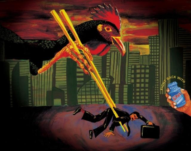 OGILVY & MATHER, Сингапур. Страшный принт о том, как человек и курица поменялись местами и как с этим бороться.