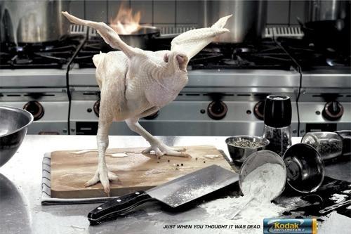 Kodak с помощью курицы решил продемонстрировать бессмертность своих батареек.
