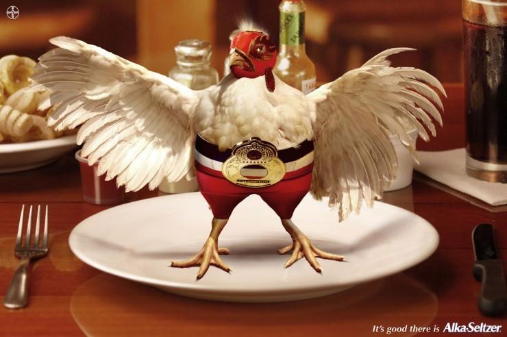 """""""Курица-борец"""" с алкогольным опьянением от Alka Seltzer. Рекламное агентство BBDO, Гватемала."""