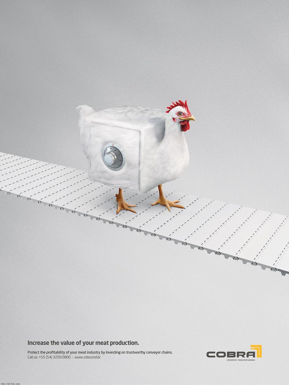 Реклама линейного оборудования бразильской компании COBRA, которая обещает увеличить ценность произведенного мяса.