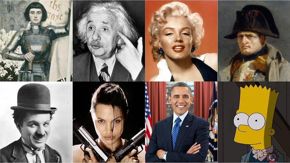 И это всё левши... (Жанна д'Арк, Энштейн, Мэрилин Монро, Наполеон I, Чарли Чаплин, Анджелина Джоли, Барак Обама, Барт Симпсон)