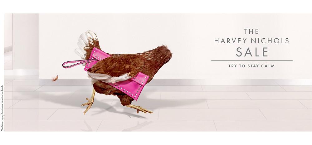 """Рекламная кампания лондонского premium-универмага Harvey Nichols, сообщающая о грядущих скидках. Магазин призывает покупателей """"попытаться остаться спокойными"""" и не терять голову."""