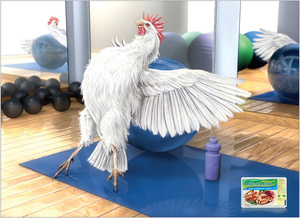 "Печатная реклама ""Chiken"" от бренда быстрых обедов Like it Lean. Рекламное агентство TBWA HuntLascaris."