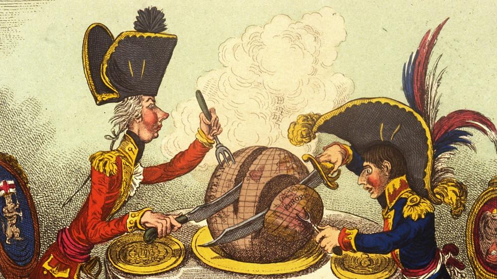 Наполеон и Питт (премьер-министр Англии) делят мир. Карикатура того времени.