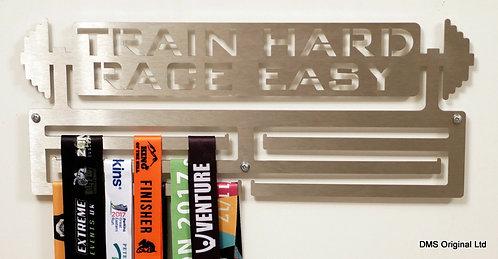 Train Hard Race Easy medal hanger - triple rail