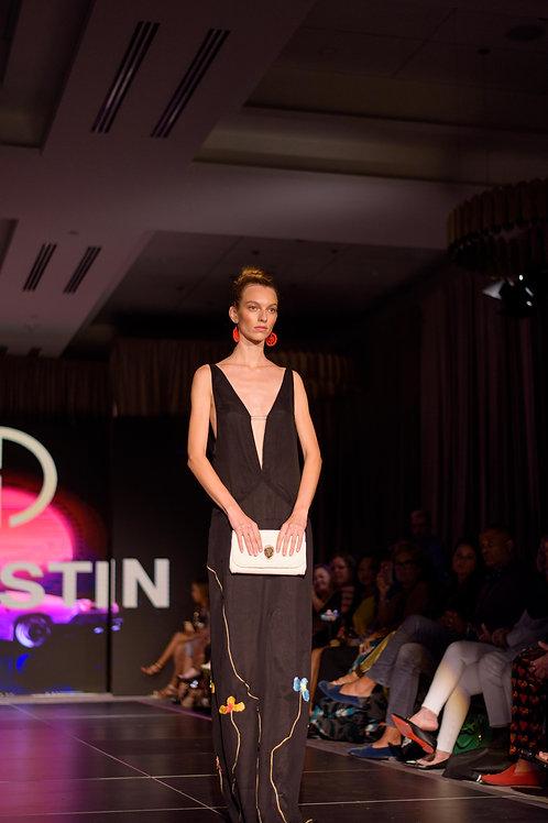 Natalie's  draped back Black Silk Chiffon Evening Gown.
