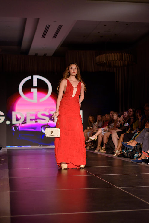 Gertha's  Draped Back Red Silk Chiffon Evening Gown
