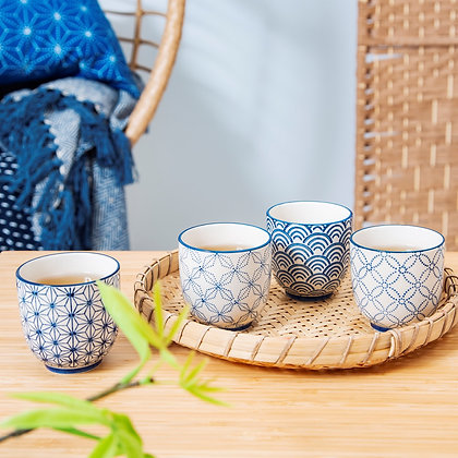 Sashiko Pattern Cups Assorted set of 4
