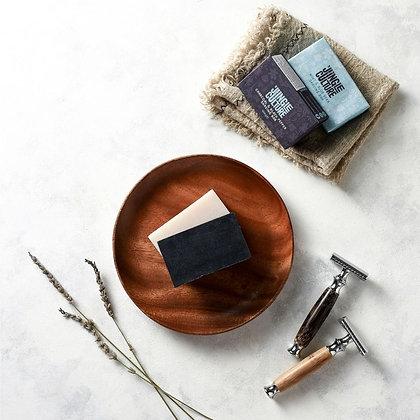 Plastic Free Zero Waste Shaving Soap Bar - Charcoal & Cracked Black Pepper
