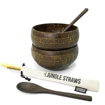 Coconut Bowl Set W/Wooden Spoons + Bamboo Straws - Geometric